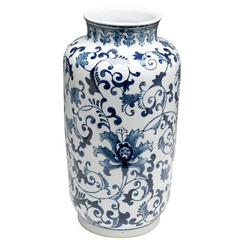 "15"" Floral Vase, Blue/White"