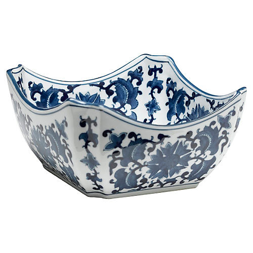 "9"" Floral Square Bowl, Blue/White"