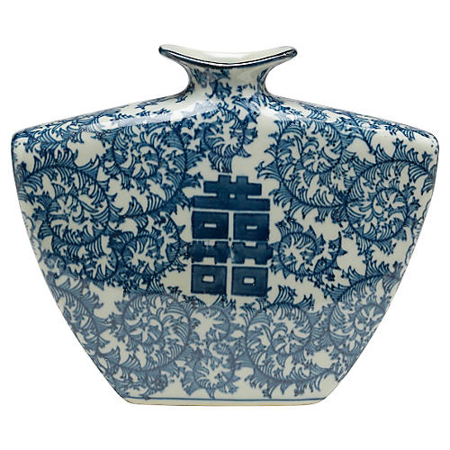 "9"" Double Happiness Vase, Blue/White"