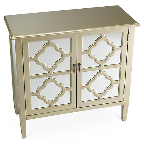 Sayre 2-Door Mirrored Cabinet, Champagne