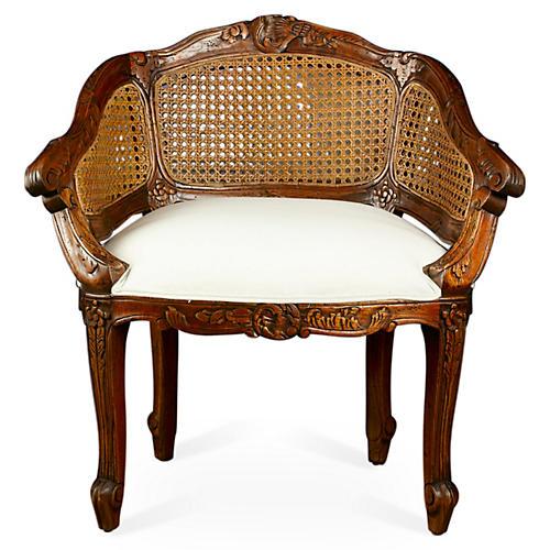Walnut Wicker-Back Slipper Chair, Linen