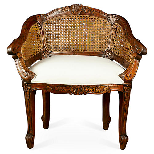 Wicker-Back Slipper Chair, Cream Linen