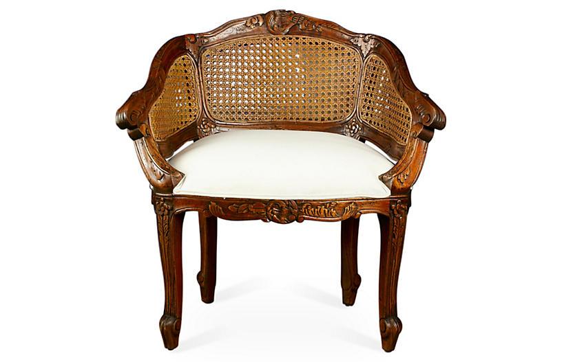 Wicker-Back Slipper Chair, Cream Linen