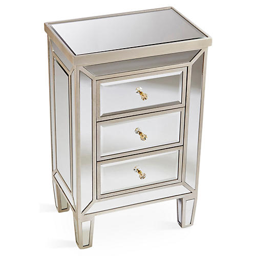 Emma 3-Drawer Nightstand, Mirrored
