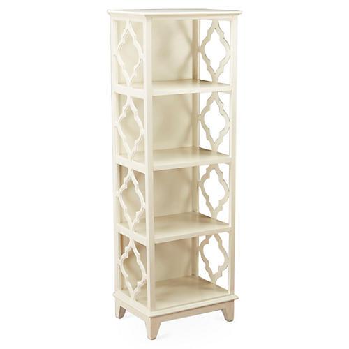 """Barton 57"""" Trellis Bookcase, White"""