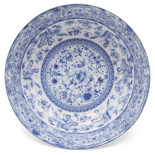 "9"" Floral Bowl, Blue/White"