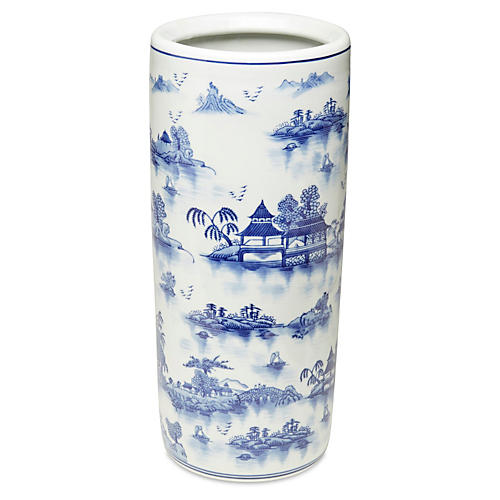 "18"" Chinoiserie Umbrella Stand, Blue"