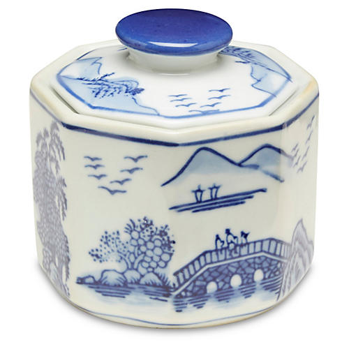 S/3 Small Darcell Jars, Blue/White
