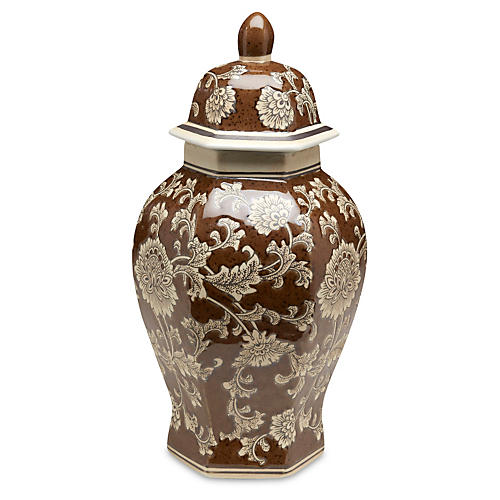 "14"" Floral Ginger Jar, Brown/Cream"