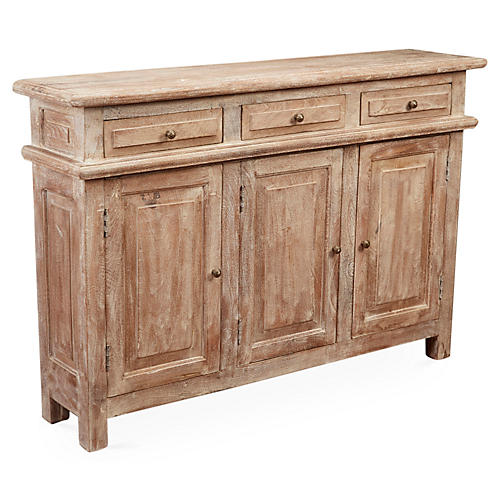 Beulah 3-Door Cabinet, Weathered Sand
