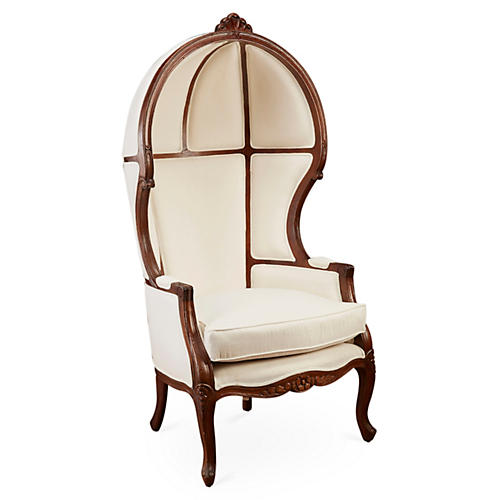 Mirabel Canopy Chair, Ivory Linen