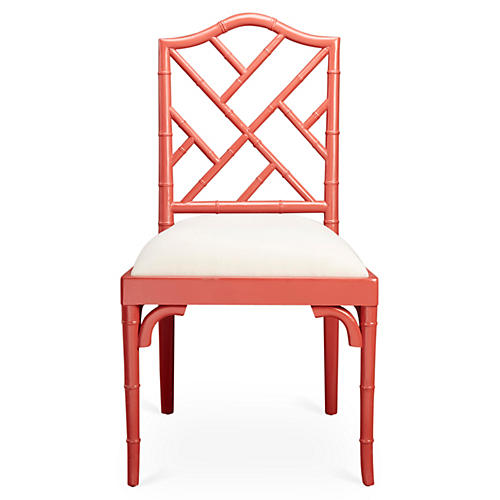 Mae Bamboo Side Chair, Coral/White Linen
