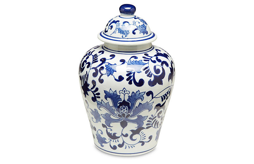 Blue Floral Ginger Jar w/Lid