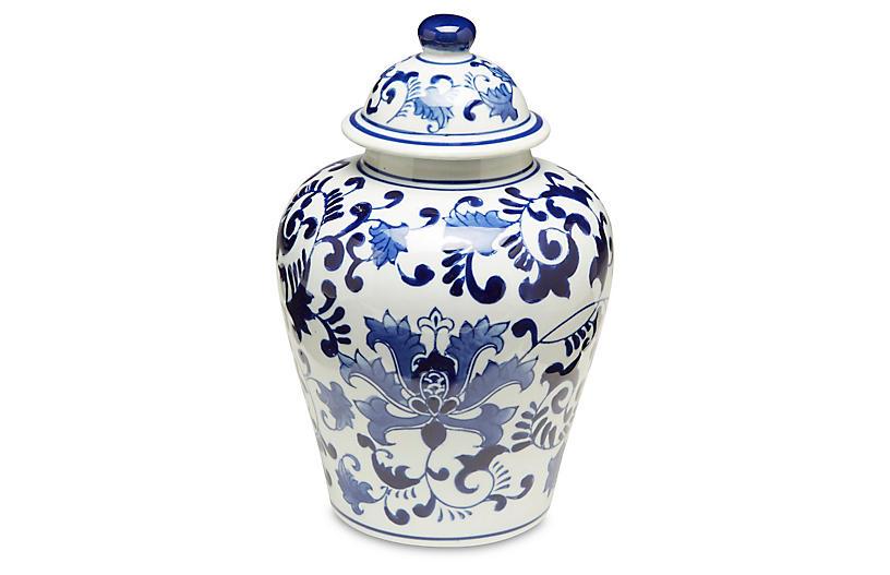 Blue Floral Ginger Jar w/Lid