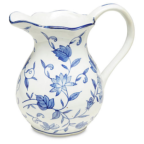 Blue Floral Pitcher