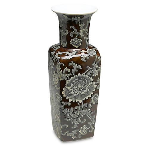 "17"" Brown & Gray Floral Square Vase"