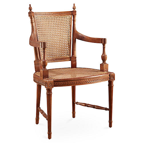 Hampton Wicker Armchair, Walnut