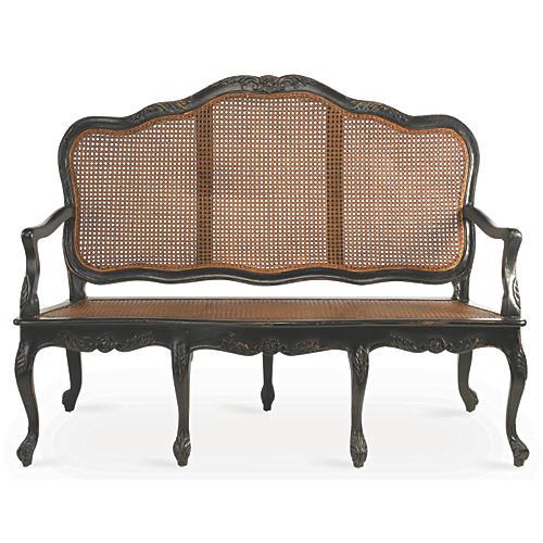 Cane Three-Seat Sofa, Black/Natural