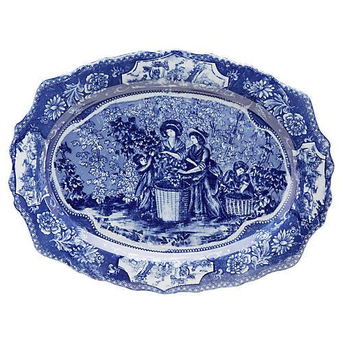 """20"""" Ceramic Harvest Platter, Blue/White"""