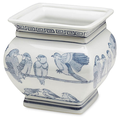 "7"" Ceramic Bird Planter, Blue/White"