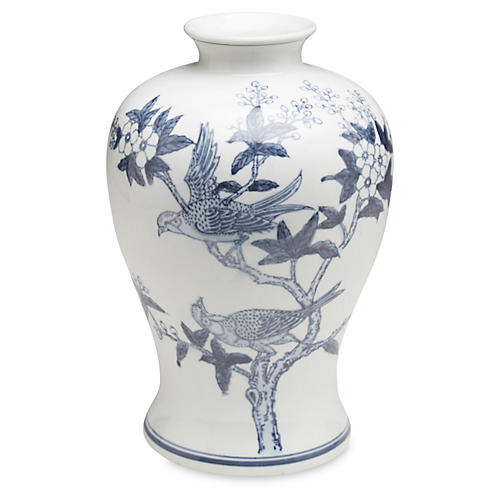 "13"" Ceramic Bird Vase, Blue/White"