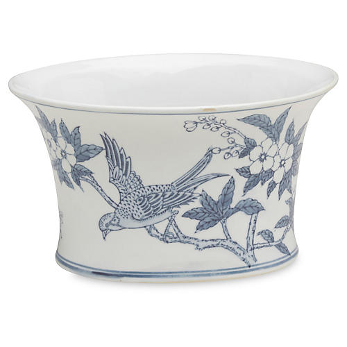 "10"" Ceramic Bird Planter, Blue/White"