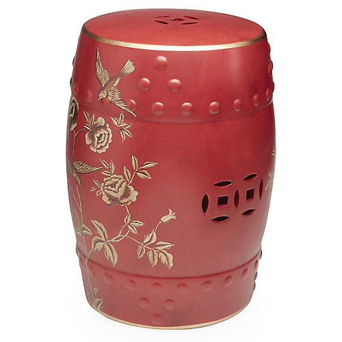 Rose Garden Stool, Red