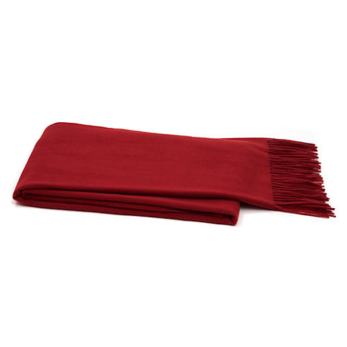 Cashmere-Blend Throw, Dark Crimson
