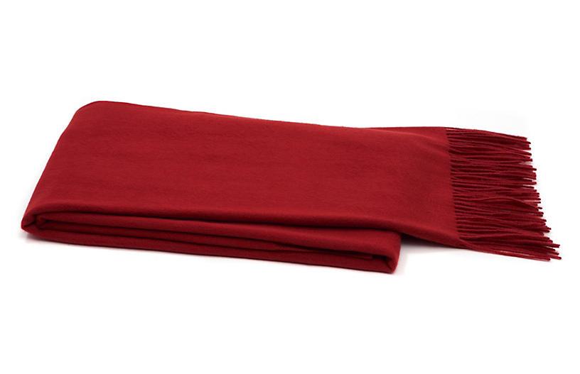 Solid Cashmere Throw, Dark Crimson