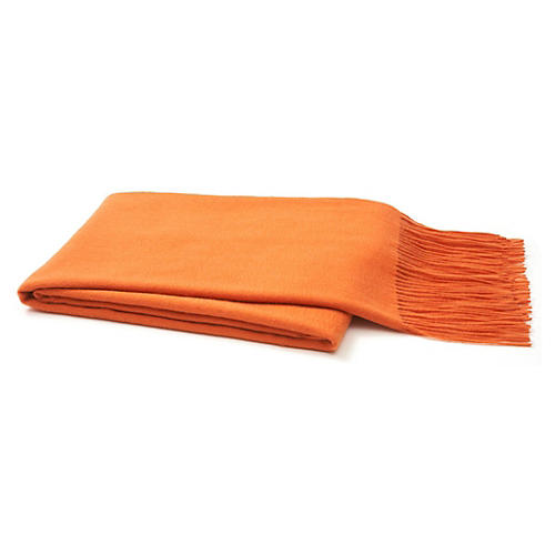 Solid Cashmere Throw, Orange