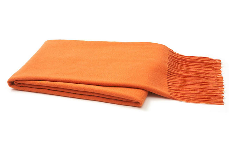 Solid Cashmere Throw, Orange