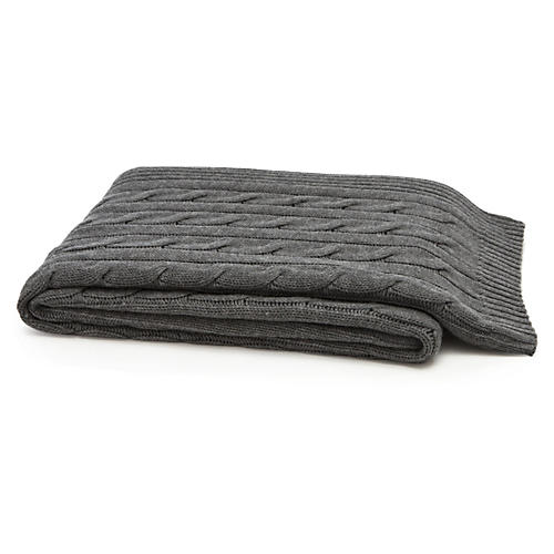 Cable-Knit Cashmere-Blend Throw, Gray
