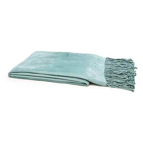 Bamboo Throw, Spa Blue