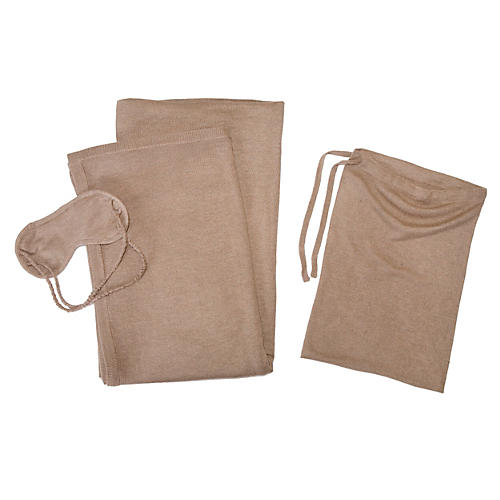 Cashmere-Blend Travel Set, Sand