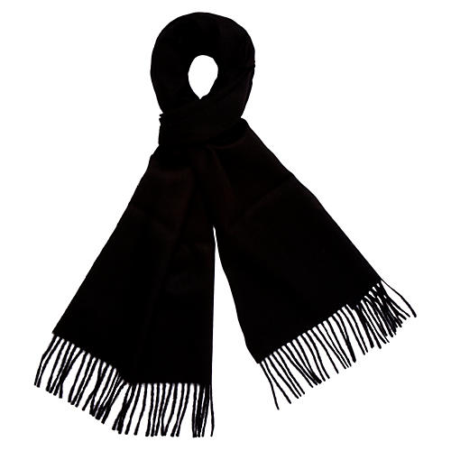 Alpaca Wool Solid Scarf, Black
