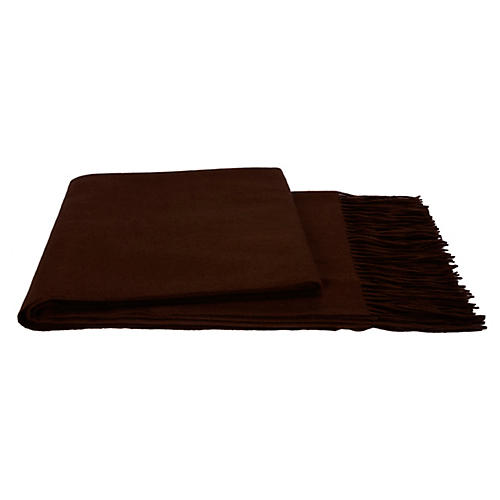Solid Cashmere Throw, Chocolate