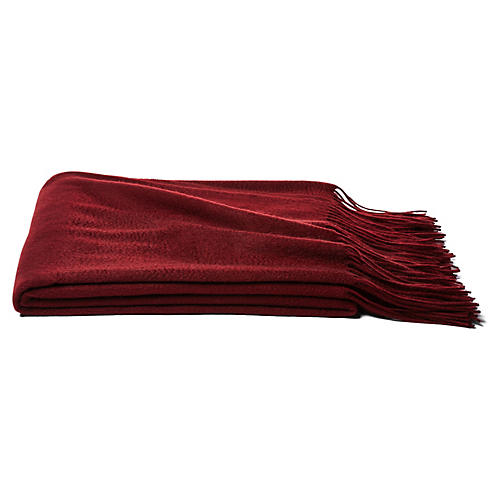 Solid Cashmere Throw, Merlot