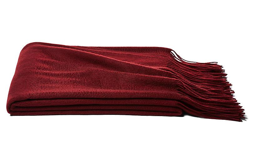 Solid Cashmere Throw, Merlot