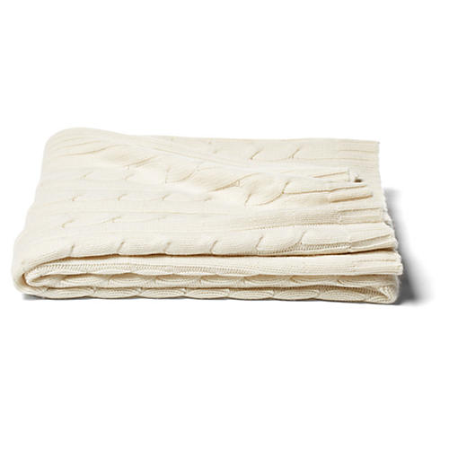 Cable-Knit Cashmere-Blend Throw, Ivory