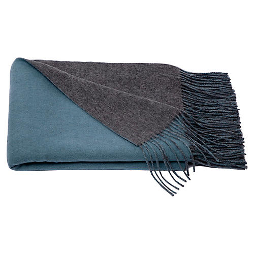Reversible Cashmere Blend Throw, Lake