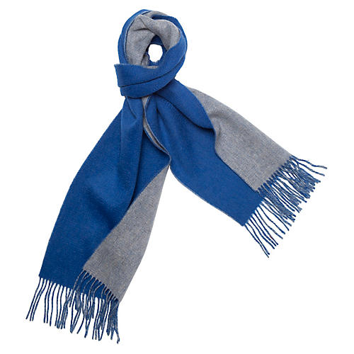 Reversible Cashmere Scarf, Blue/Gray