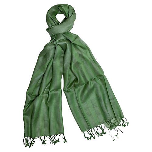 Handmade Silk Herringbone Scarf, Green