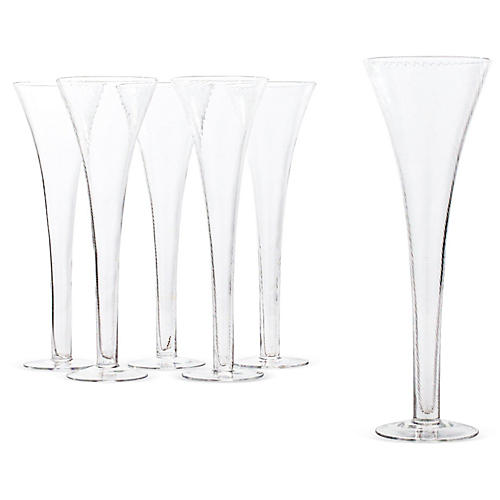 S/6 Handmade Champagne Flutes