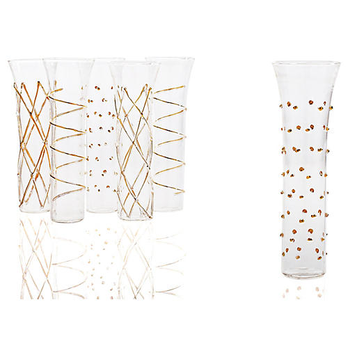 Asst of 6 Champagne Flutes, Gold