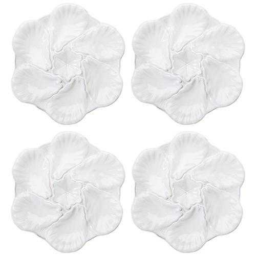 S/4 Fleur de Lis Oyster Plates, White