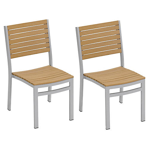 Natural Charleston Side Chairs, Pair