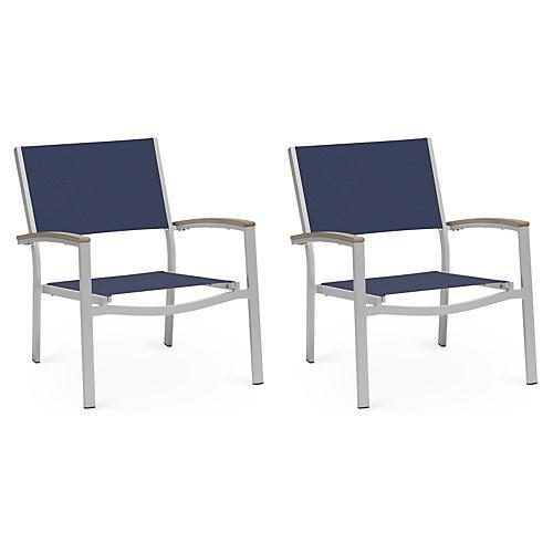 Blue Travira Chat Chairs w/Tekwood, Pair