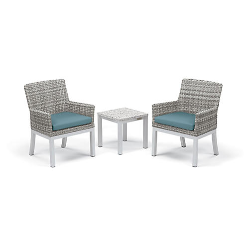 Asst. of 3 Travira Conversation Set, Ice Blue