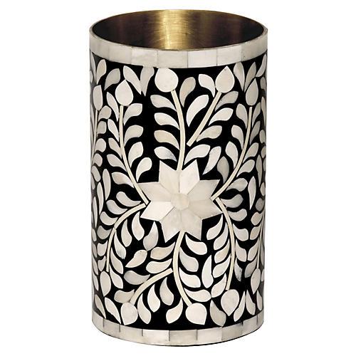 """8"""" Imperial Beauty Vase, Black/White"""
