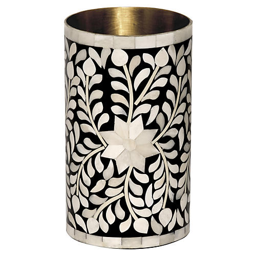 "8"" Imperial Beauty Vase, Black/White"
